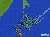 北海道地方のアメダス実況(日照時間)(2020年06月22日)