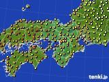 近畿地方のアメダス実況(気温)(2020年06月22日)