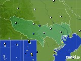 2020年06月22日の東京都のアメダス(風向・風速)