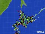 北海道地方のアメダス実況(日照時間)(2020年06月23日)