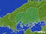 広島県のアメダス実況(風向・風速)(2020年06月24日)