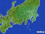 関東・甲信地方のアメダス実況(降水量)(2020年06月25日)