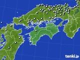 四国地方のアメダス実況(降水量)(2020年06月25日)