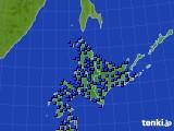 北海道地方のアメダス実況(日照時間)(2020年06月25日)