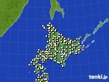 北海道地方のアメダス実況(気温)(2020年06月25日)
