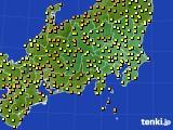 関東・甲信地方のアメダス実況(気温)(2020年06月25日)