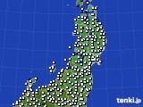 2020年06月25日の東北地方のアメダス(風向・風速)