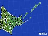 2020年06月25日の道東のアメダス(風向・風速)