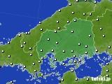広島県のアメダス実況(風向・風速)(2020年06月27日)