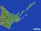 道東のアメダス実況(風向・風速)(2020年06月28日)
