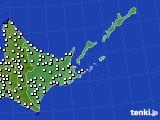 2020年07月02日の道東のアメダス(風向・風速)