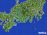 2020年07月04日の東海地方のアメダス(風向・風速)