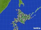 北海道地方のアメダス実況(風向・風速)(2020年07月07日)