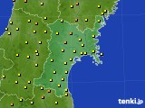 宮城県のアメダス実況(気温)(2020年07月27日)