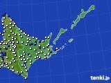 道東のアメダス実況(風向・風速)(2020年08月02日)