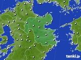 大分県のアメダス実況(風向・風速)(2020年08月02日)