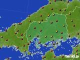 広島県のアメダス実況(気温)(2020年08月03日)