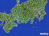 東海地方のアメダス実況(風向・風速)(2020年08月08日)