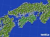 四国地方のアメダス実況(風向・風速)(2020年08月08日)