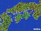 四国地方のアメダス実況(日照時間)(2020年08月09日)