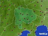 山梨県のアメダス実況(気温)(2020年08月09日)