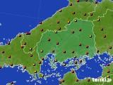 広島県のアメダス実況(気温)(2020年08月09日)