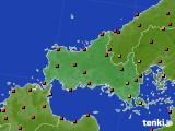 山口県のアメダス実況(気温)(2020年08月09日)