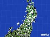東北地方のアメダス実況(風向・風速)(2020年08月09日)