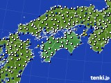 四国地方のアメダス実況(風向・風速)(2020年08月09日)
