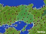 兵庫県のアメダス実況(気温)(2020年08月10日)