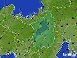 滋賀県のアメダス実況(気温)(2020年08月12日)