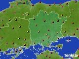 岡山県のアメダス実況(気温)(2020年08月12日)