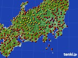 関東・甲信地方のアメダス実況(気温)(2020年08月13日)