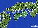 四国地方のアメダス実況(風向・風速)(2020年08月13日)