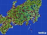2020年08月14日の関東・甲信地方のアメダス(日照時間)