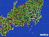 2020年08月15日の関東・甲信地方のアメダス(日照時間)
