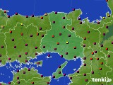 兵庫県のアメダス実況(日照時間)(2020年08月17日)