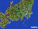 関東・甲信地方のアメダス実況(日照時間)(2020年08月18日)