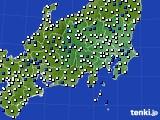 関東・甲信地方のアメダス実況(風向・風速)(2020年08月18日)