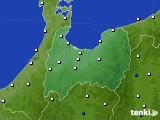 富山県のアメダス実況(風向・風速)(2020年08月18日)