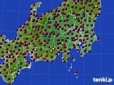 2020年08月19日の関東・甲信地方のアメダス(日照時間)