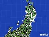 東北地方のアメダス実況(風向・風速)(2020年08月19日)