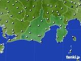 静岡県のアメダス実況(風向・風速)(2020年08月19日)