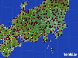 2020年08月20日の関東・甲信地方のアメダス(日照時間)