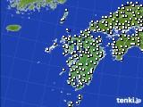 九州地方のアメダス実況(風向・風速)(2020年08月21日)