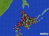 北海道地方のアメダス実況(日照時間)(2020年08月22日)