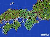 近畿地方のアメダス実況(日照時間)(2020年08月22日)