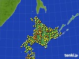 北海道地方のアメダス実況(気温)(2020年08月22日)