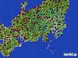 2020年08月25日の関東・甲信地方のアメダス(日照時間)