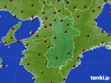 奈良県のアメダス実況(気温)(2020年08月25日)